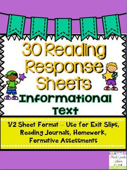 Common Core Reading Response Sheets - Informational Text