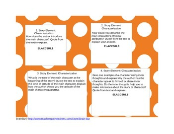 Common Core Reading Response Task Cards
