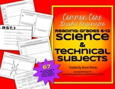 Common Core Reading Science & Technical Subjects Graphic Organizers 6-12