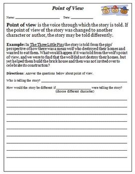 Common Core Reading Standard 6 Point of View Worksheets