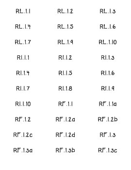 Common Core Reading Standard Labels for First Grade