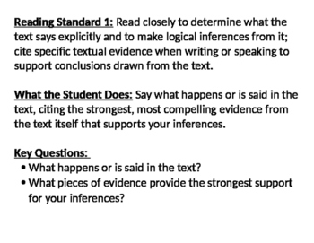 Common Core Reading Standards 1-10