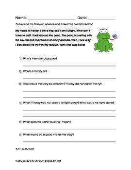 Common Core Reading Standards for Literature: Kindergarten (RLK) Assessment