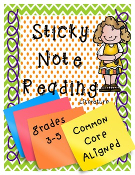 Common Core Reading Sticky Notes *Grades 3-5*