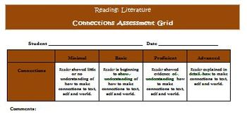 Common Core Reading Strategy Connections Activities and Rubric