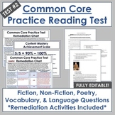 Common Core Reading Test Prep #2: Editable Assessment & Remediation Materials
