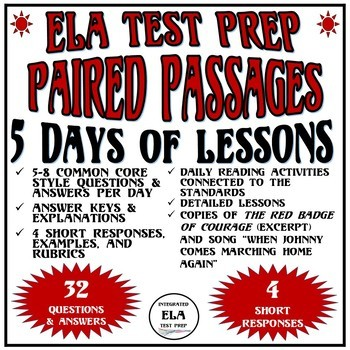 Common Core ELA Reading Test Prep 5 Days of Lessons: Paired Passages (Civil War)