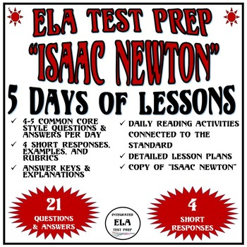 Common Core ELA Reading Test Prep Lessons: Isaac Newton (Informational Text)