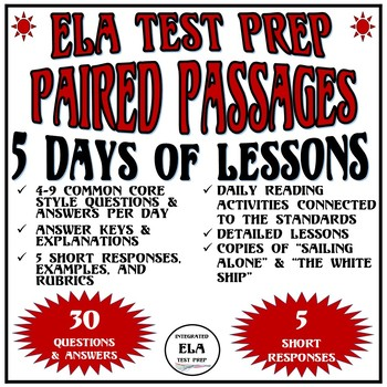 Common Core ELA Reading Test Prep 5 Days of Lessons: Paired Passages (Sailing)