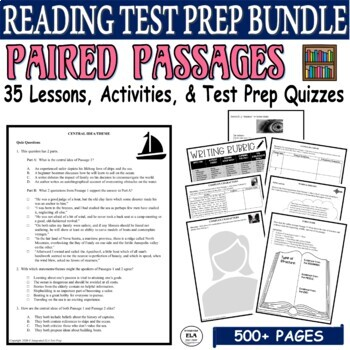 Common Core ELA Reading Test Prep Paired Passages BUNDLE: 15 Days of Lessons
