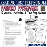 Paired Passages CCSS Test Prep BUNDLE: 30 Days (Lessons Quizzes Activities)
