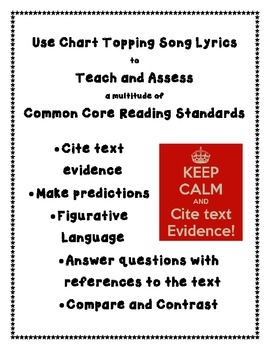 Common Core Reading Using Top Song Lyrics - Complete Unit - Covers Many Stds