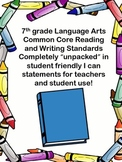 Common Core Reading-Writing Standards(7th )-unpacked,I can