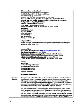 Common Core Reading & Writing Workshop Opinion Unit Plan First Grade