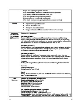 Common Core Reading & Writing Workshop Unit Plan Nonfiction First Grade