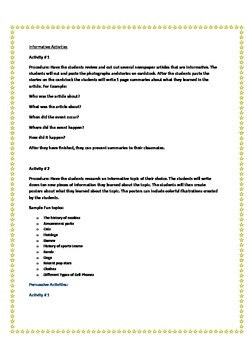 Common Core Reading and Writing Skills Packet