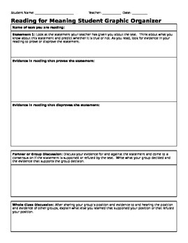 Common Core Reading for Meaning Graphic Organizer