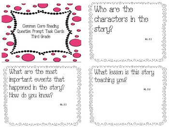 Common Core Reading/Phonics Question Prompt Task Cards For Third Grade