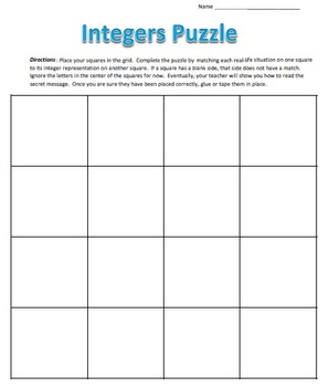 Common Core - Real Life Integers Puzzle - Math Fun!