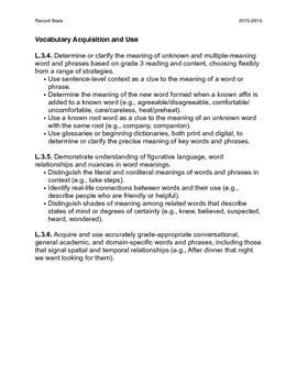 Common Core Record Keeping for 3rd Grade Language Standards