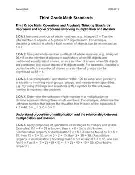 Common Core Record Keeping for 3rd Grade Math Number Standards