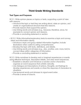 Common Core Record Keeping for 3rd Grade Writing Standards