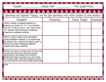 Common Core Recording/Tracking Sheets 4th Gr. Math Chevron, Gingham, & Zebra