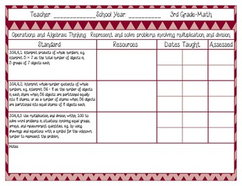 Common Core Recording/Tracking Sheets 3rd Gr. Math Chevron, Gingham, & Zebra