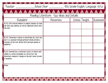 Common Core Recording/Tracking Sheets 6th Gr. ELA Chevron, Gingham, & Zebra