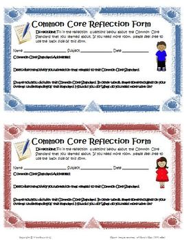Common Core Reflection Form for any subject and grade