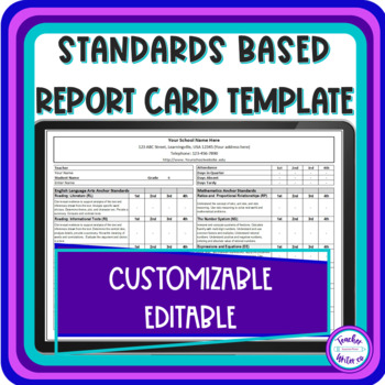 Common Core Report Card Template For Quarters By Teacherwriter Tpt