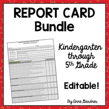 5th grade report card template  Common Core Report Card Templates for Kindergarten through 5th Grade  Editable