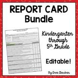 Common Core Report Card Templates for Kindergarten through 5th Grade  {Editable}