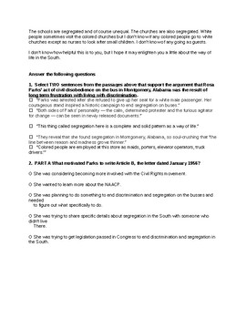 Common Core Rosa Parks 2 Passage Activity and Test Prep 7th/8th grade