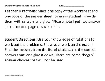 Common Core Rotations around a point (not the origin) Cut and Paste Activity