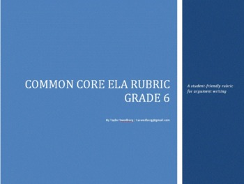 Common Core Rubric -6th Grade Argument (Student-Friendly Language)