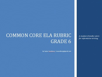 Common Core Rubric -6th Grade Informative (Student-Friendly Language)