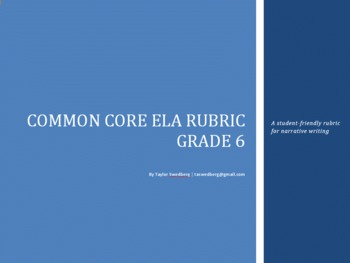 Common Core Rubric -6th Grade Narrative (Student-Friendly Language)