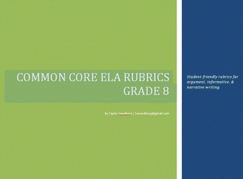 8th Gr Common Core Rubrics - Student Friendly - Argument/Informative/Narrative