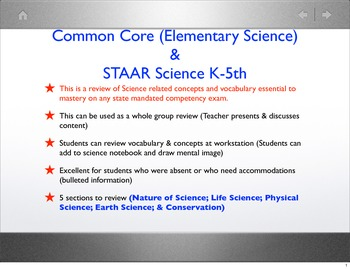 Common Core & STAAR Science_Vocabulary & Concepts