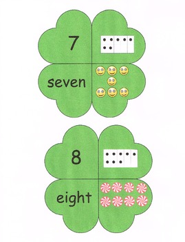 Common Core Saint Patty's Day Number, Number Word, Picture, Ten Frame Match