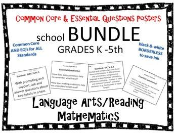 Common Core School Bundle-common core and essential question posters ALL grades