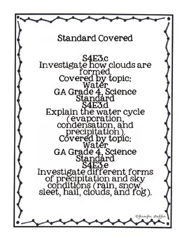 Common Core: Science Standard: Water Cycle Common Assessment