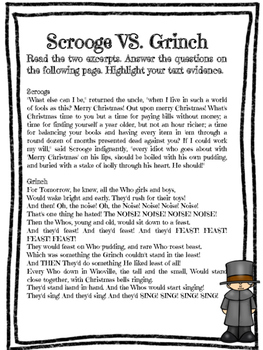Christmas Center: Scrooge VS Grinch CCSS Aligned