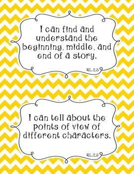 Common Core Second Grade I Can Statements-ELA & Math-Chevron Themed