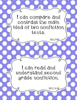 Common Core Second Grade I Can Statements-ELA & Math-Polka Dot Themed
