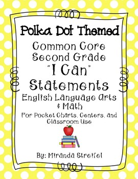 Common Core Second Grade I Can Statements-ELA & Math-Polka