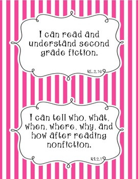 Common Core Second Grade I Can Statements-ELA & Math-Stripes Themed
