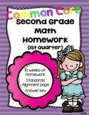 Common Core Second Grade Math Homework-1st Quarter