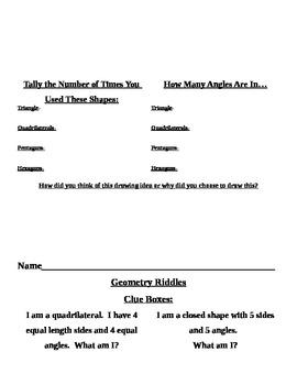 Common Core Second Grade Math Menu 2.G.1-3
